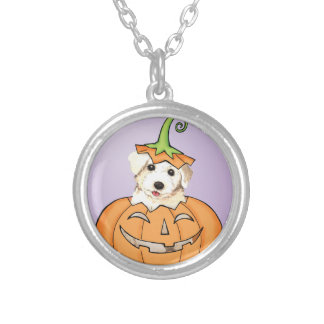 Halloween Bichon Silver Plated Necklace
