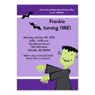 Halloween Birthday 5x7 Frankenstein Party Invite