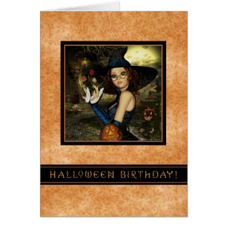 Halloween Birthday - Autumn Leaves Witch Greeting Card