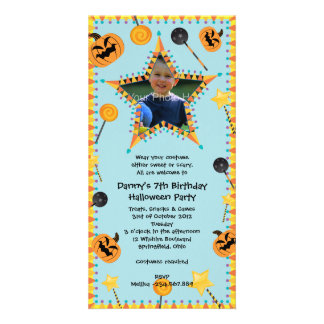 Halloween Birthday Costtume Party Invitation Personalized Photo Card