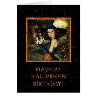 Halloween Birthday - Cute Witch Star Sky Greeting Card