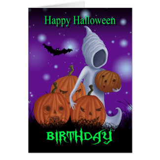 Halloween Birthday Ghost And Pumpkins Card