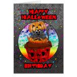 halloween birthday greeting card with cupcake cat