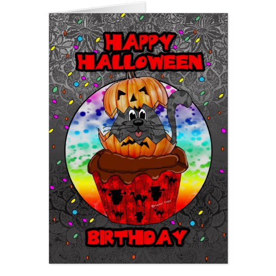 halloween birthday greeting card with cupcake cat