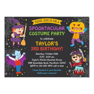 Halloween Birthday Invitation Costume Party Kids