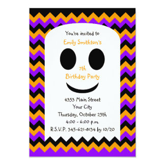 Halloween Birthday Invitation, Halloween Ghost Card