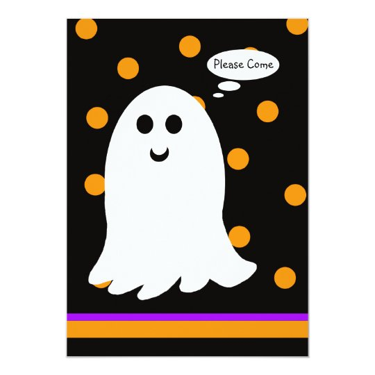Halloween Birthday Party Invitation Ghost