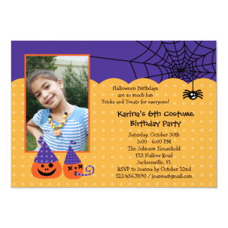 "Halloween Birthday Photo Invitation 5"" X 7"" Invitation Card"