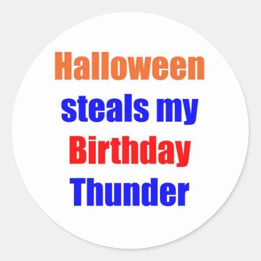 Halloween Birthday Thunder Round Sticker
