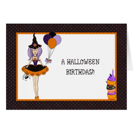 Halloween Birthday Witch Greeting Card