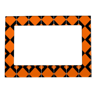Halloween Black and Orange pattern Magnetic Picture Frame