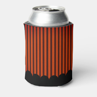 Halloween Black and Orange striped Can Cooler