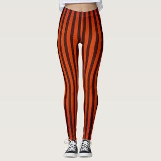 Halloween Black and Orange striped Leggings