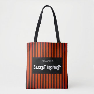 Halloween Black and Orange striped Tote Bag
