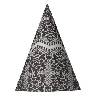 Halloween Black and White Skull Lace Party Hat