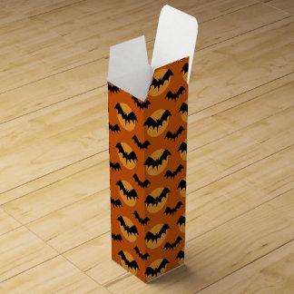 Halloween Black Bats Flying in front of Moon Wine Gift Box