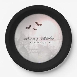Halloween Black Bats Gothic Wedding Matching Plate
