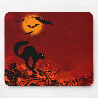 Halloween Black Cat and Bats Mouse Mat