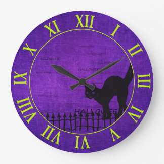 Halloween: Black Cat and Fence Silhouette Large Clock