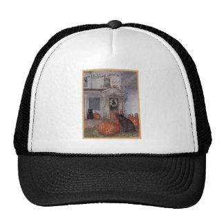 HALLOWEEN BLACK CAT and haunted house Cap