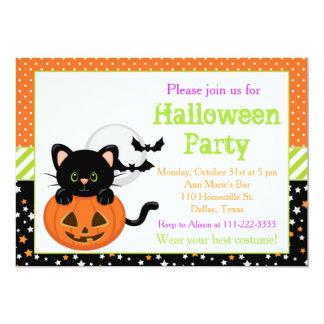 Halloween Black Cat and Pumpkin 13 Cm X 18 Cm Invitation Card
