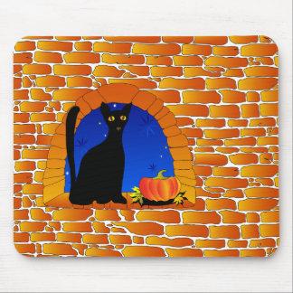 Halloween black cat and pumpkin mouse mat