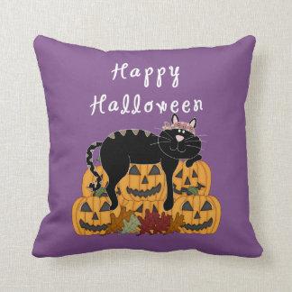 Halloween Black Cat and Pumpkins Cushion