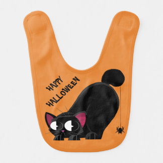 Halloween Black Cat and Spider Bib