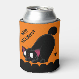 Halloween Black Cat and Spider Can Cooler