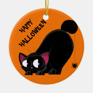 Halloween Black Cat and Spider Christmas Ornament