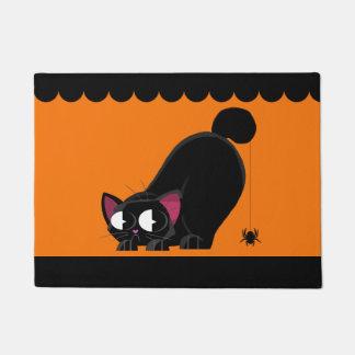 Halloween Black Cat and Spider Doormat
