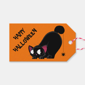 Halloween Black Cat and Spider Gift Tags