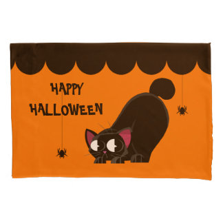 Halloween Black Cat and Spider Pillowcase