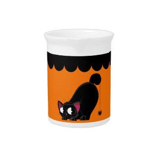 Halloween Black Cat and Spider Pitcher