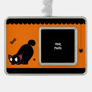 Halloween Black Cat and Spider Silver Plated Framed Ornament