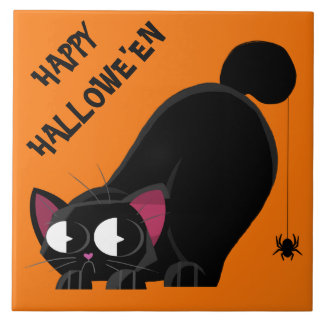 Halloween Black Cat and Spider Tile
