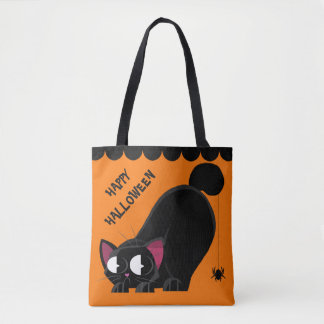 Halloween Black Cat and Spider Tote Bag