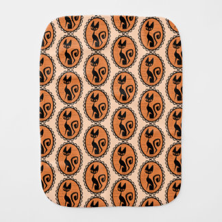 Halloween Black Cat Cameo Burp Cloth