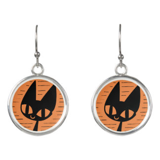Halloween Black Cat Cameo Earrings
