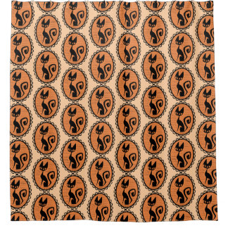 Halloween Black Cat Cameo Shower Curtain