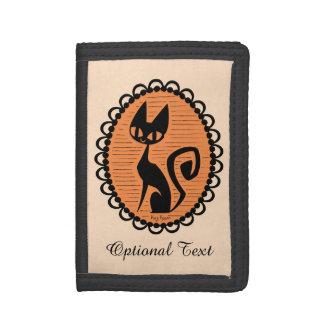 Halloween Black Cat Cameo Tri-fold Wallets