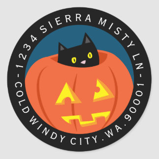 Halloween Black Cat Circle Return Address Label Round Sticker