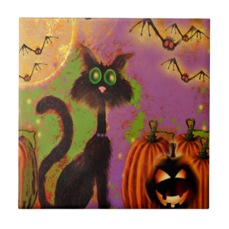 Halloween Black Cat Design Tile