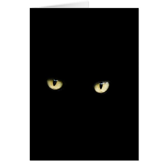 Halloween Black Cat Eyes Greeting Card