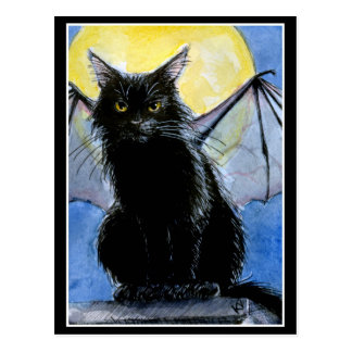 Halloween black cat gargoyle postcard