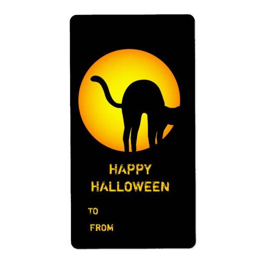 Halloween Black Cat Happy Halloween Gift Label Shipping Label