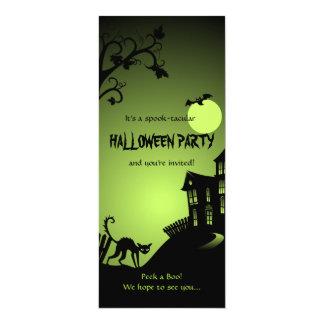Halloween Black Cat Haunted House 10 Cm X 24 Cm Invitation Card