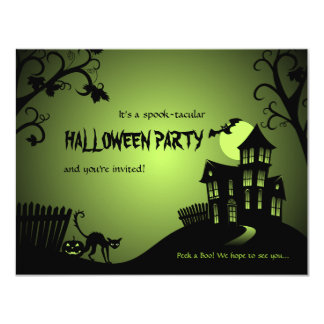Halloween Black Cat Haunted House 11 Cm X 14 Cm Invitation Card