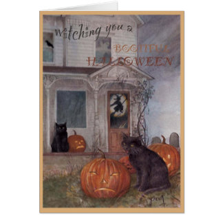 HALLOWEEN BLACK CAT & haunted house Card