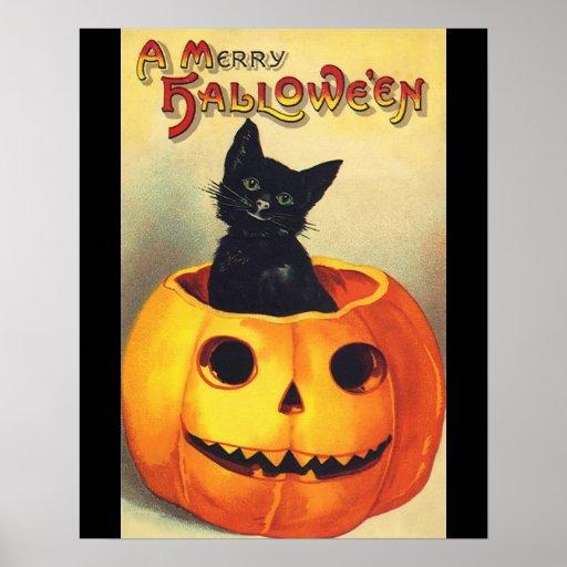Halloween Black Cat In Pumpkin Vintage Art Poster